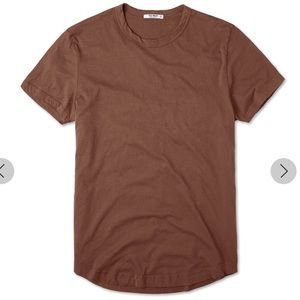 NWT Buck Mason Pima Curved Hem Tee in Rust